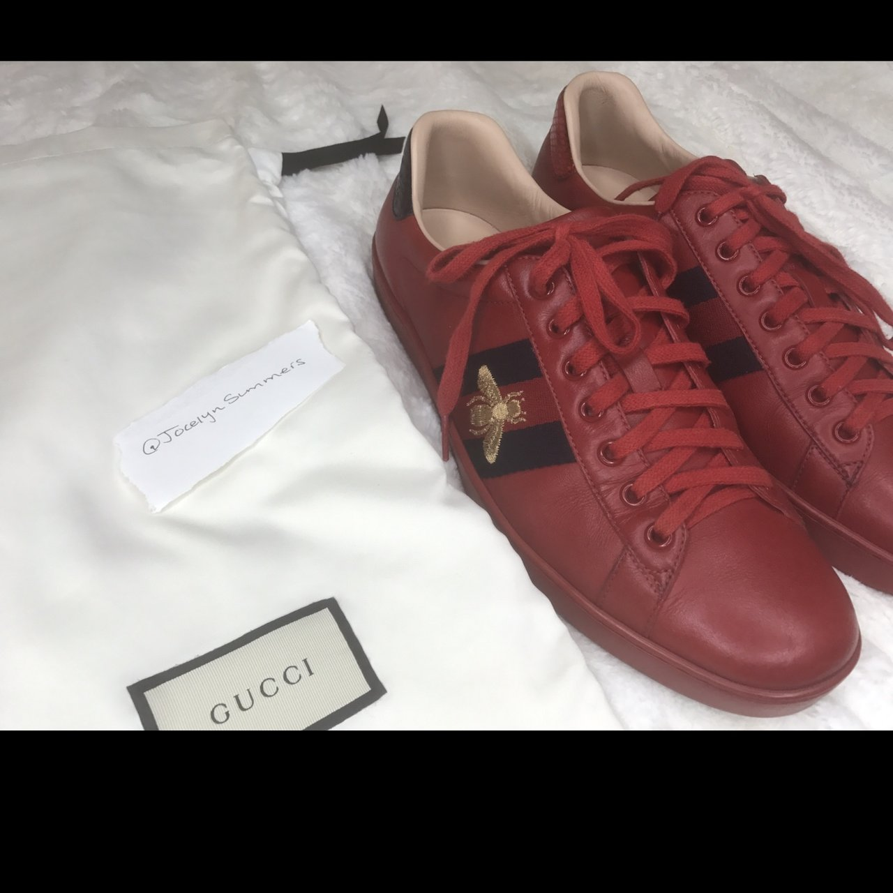bfd87060fc2 Mens. Used. The ace low top Gucci leather sneaker with bee. - Depop