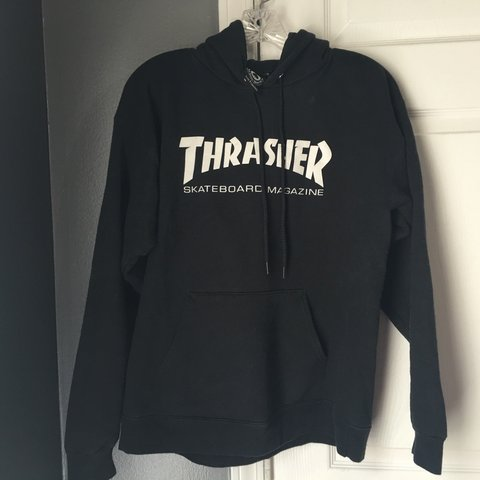 8a5eed16bccb Thrasher skateboard magazine hoodie. MENS size small fits is - Depop