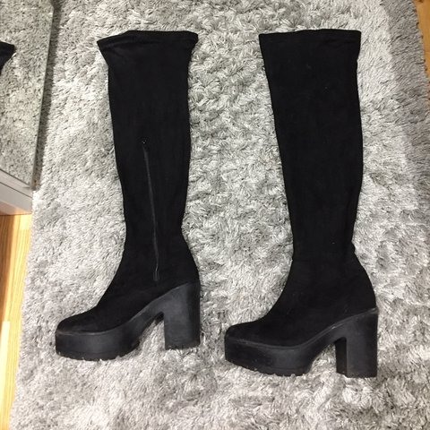 7722cbcf9fa0 Black suede knee high boots from Korkys Worn a couple of but - Depop