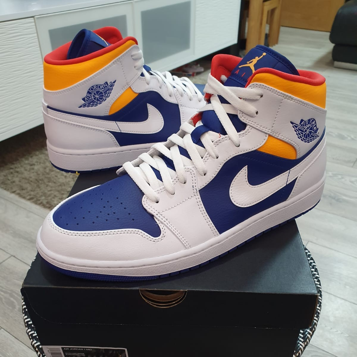 Nike Air Jordan 1 Mid Royal Blue Laser Orange White... - Depop