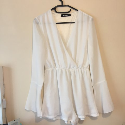 063d6eaf4463 white festival misguided playsuit size 8 (would fit a 10 has - Depop