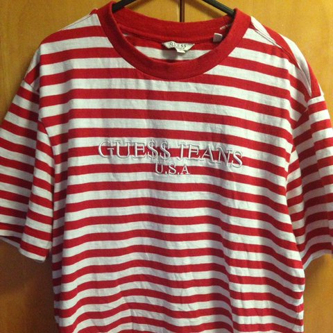0a481ed1ec7a @yunglouiss. 3 years ago. Guildford, Guildford, Surrey, UK. Guess x ASAP  Red and white stripe tee size medium. In Supreme condition ...
