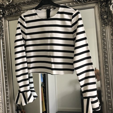 5d318ab2b41c Zara striped crop top with ruffle sleeves size S I cut the x - Depop
