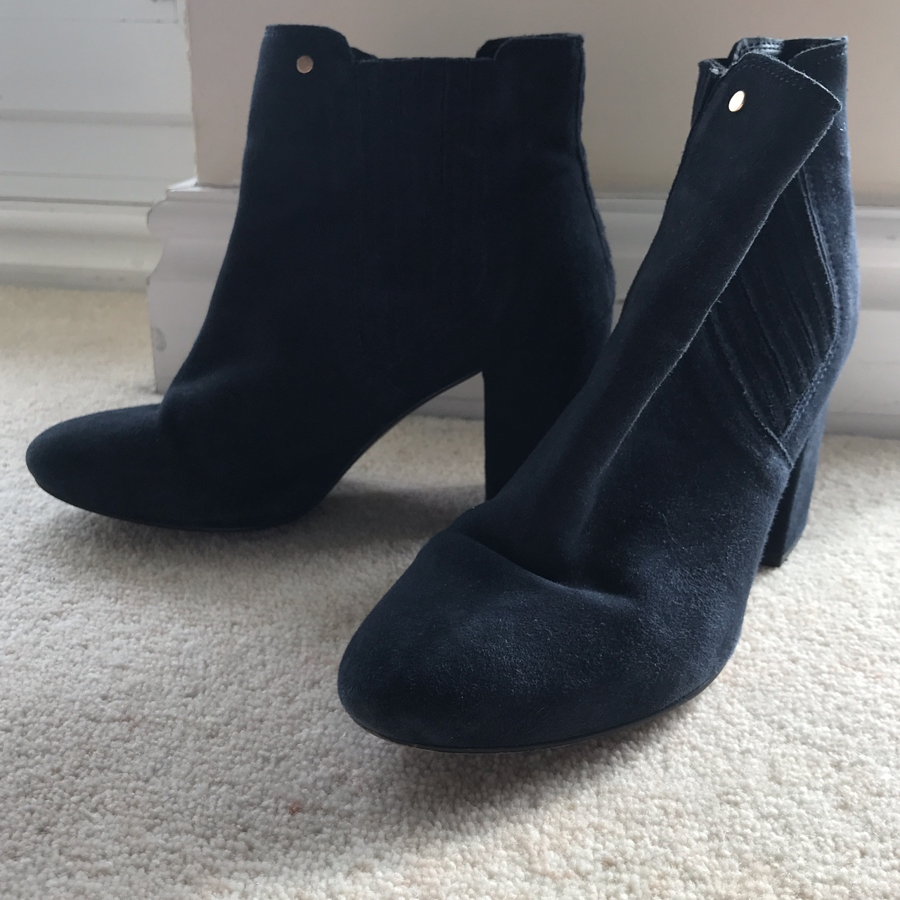 navy mid heel ankle boots