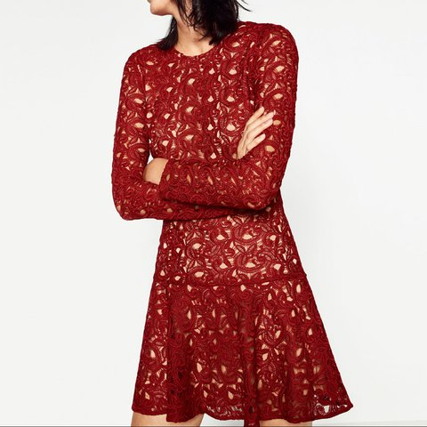 9a0361a443 @coyner25. 2 years ago. Portmarnock, Ireland. Red lace Zara dress, size  Small.