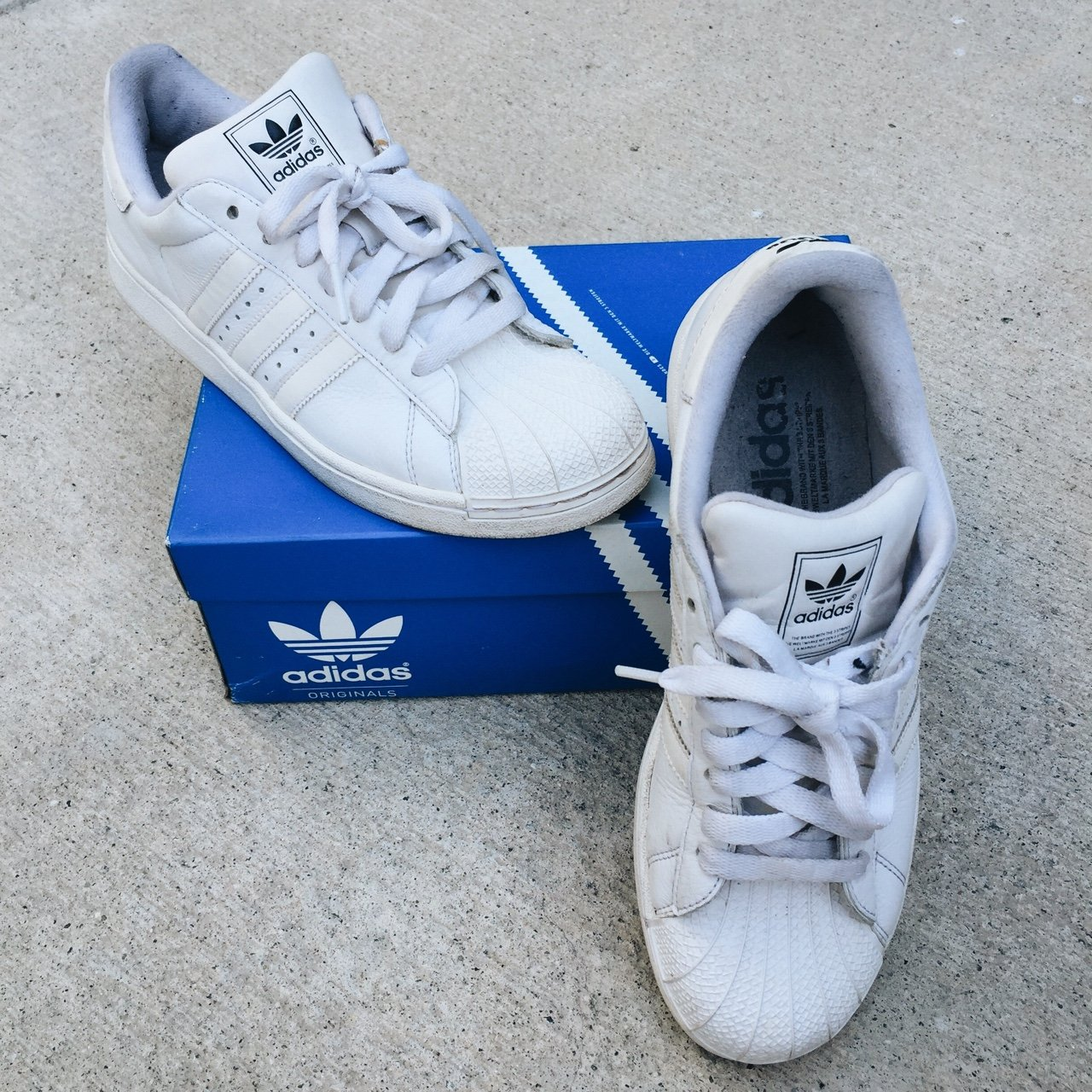 c6d93af3a0e Adidas  adidasoriginals all white  shelltoe • these have on - Depop