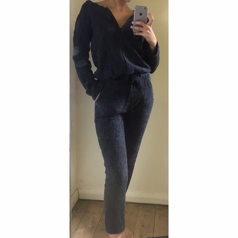 acf2a1a95c2 Super comfy dark grey cotton knitted tie up jogger jumpsuit - Depop