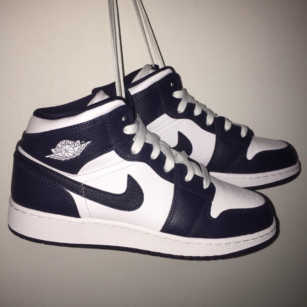 Air Jordan 1 Mid Obsidian Gs Women S Depop