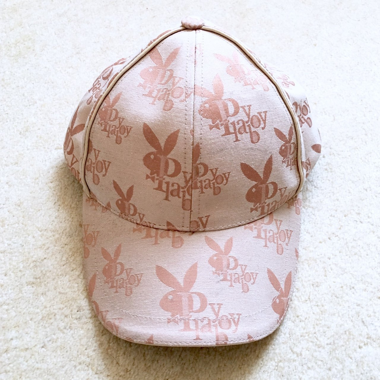 32a798628ba Peachy baby pink playboy hat. Well worn with light marks but - Depop