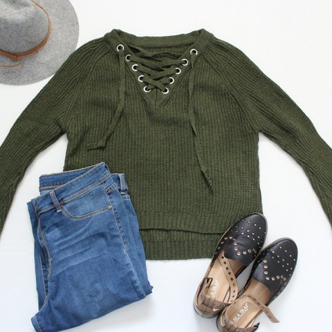 Green Lace Up Sweater Details  Medium-thick knit sweater - Depop 775a7cff2