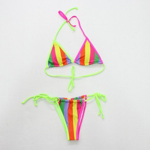 207535e8edd Larissa String Bikini in Stripes Details: Striped string - Depop