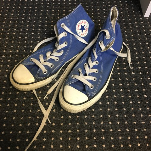 e9d7528c42e6 Blue Converse Size 4 Good condition Price includes to offers - Depop