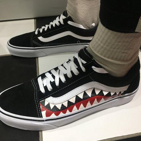 fbc0824f00cc Custom bape shark old skool vans 🦈 These are made upon by - Depop