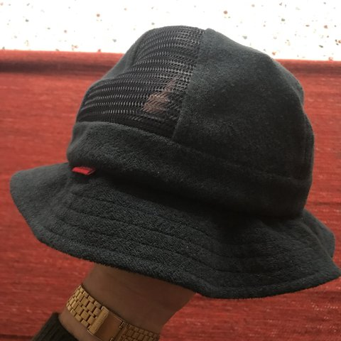 c5969fea8c4 Supreme Navy French terry bell hat with mesh side panels. or - Depop