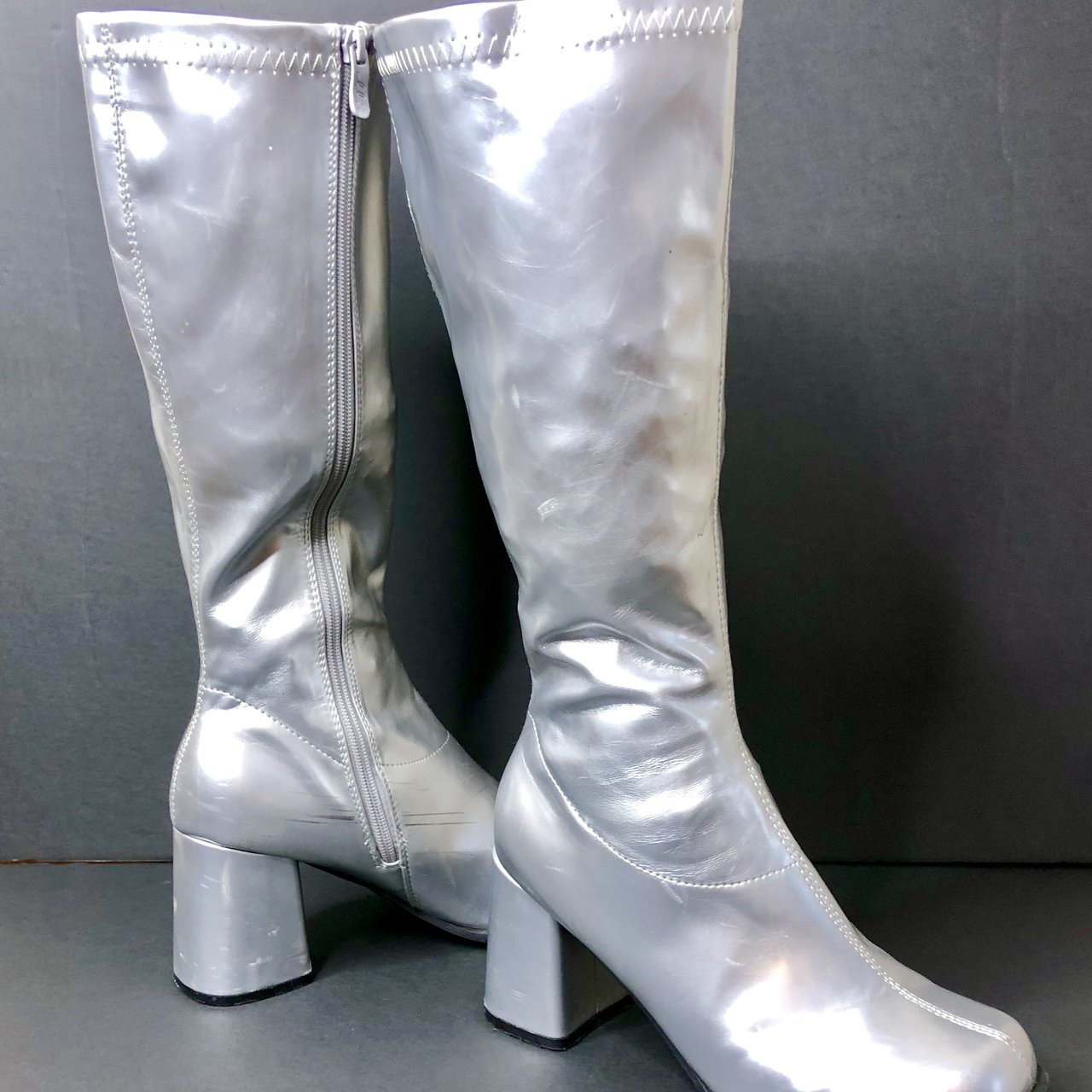 a56cf7c61 @sleazyspice. 9 months ago. Temple Hills, United States. Silver leather  knee high platform boots ...