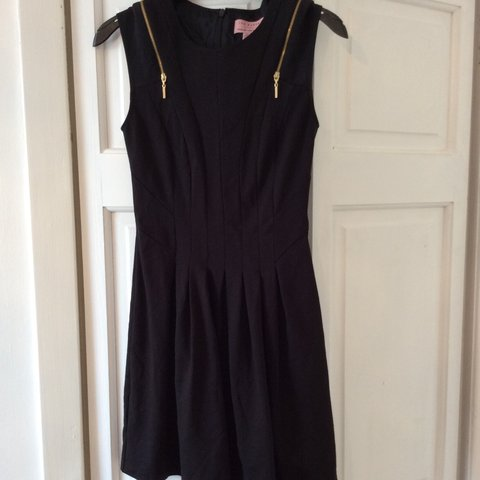 dd4f680efd45f @annatookex. 4 years ago. Dundee, Dundee City, UK. Ted Baker black skater  dress with plait detail and gold zip ...