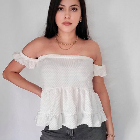 Beautiful White Off-The-Shoulder Tiered Ruffle Peplum Top