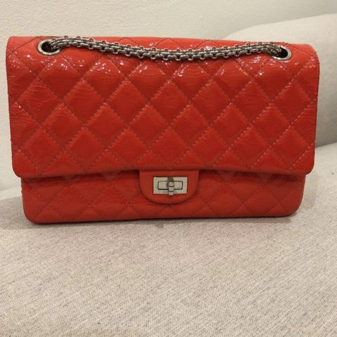 befe33d2cfce Chanel 2.55 patent red leather re issue. Used and in on flap - Depop