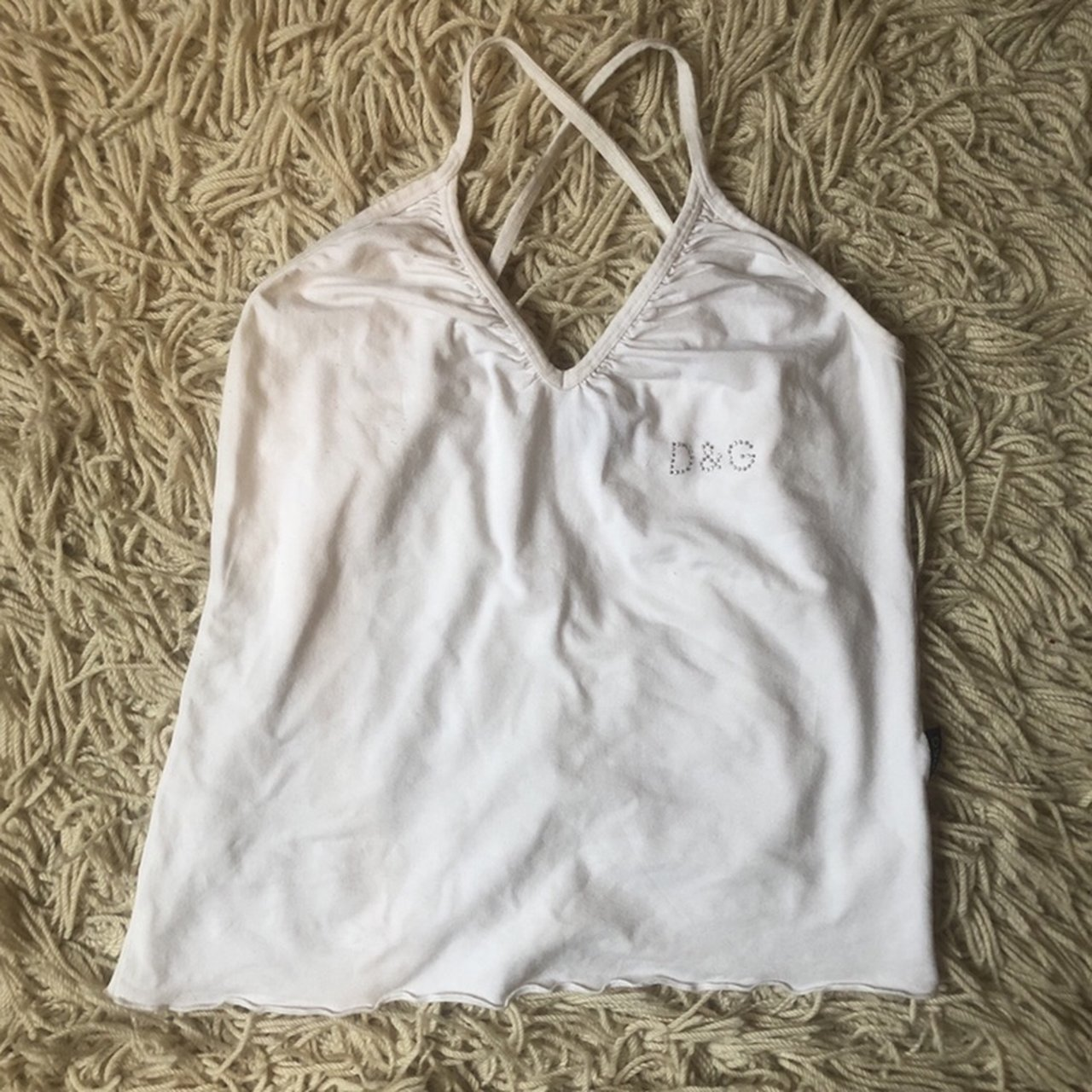 1cad873948897c cute lil white strappy dolce and gabbana cami top with cross - Depop