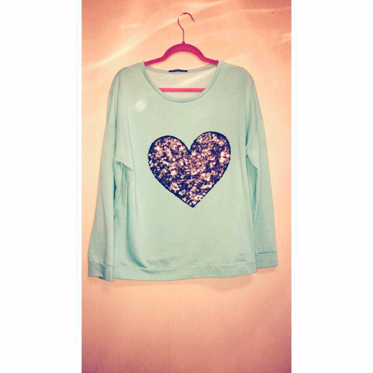 Mint Green Navy Blue Jumper With A Beautiful Love Heart In Depop