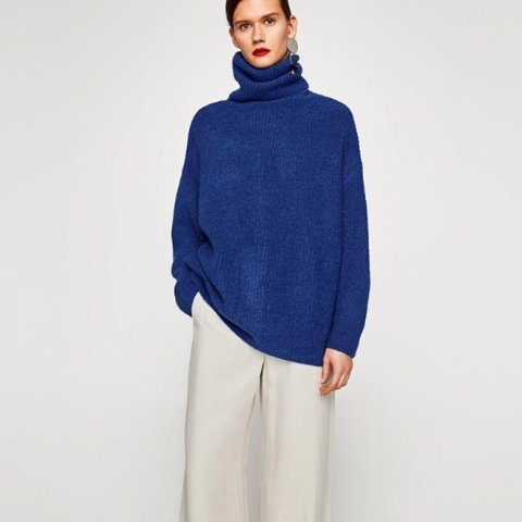 a5876143 @buymebyra. 8 months ago. Manchester, United Kingdom. Zara oversized roll  neck knitted blue jumper.