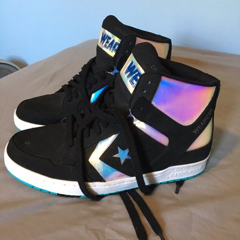 d6171e830c3a Converse weapon holographic high top shoes. Size is 7 in I a - Depop