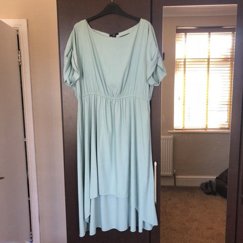 1cf799662 H&M turquoise/blue dip hem dress, size 16 but would fit a in - Depop
