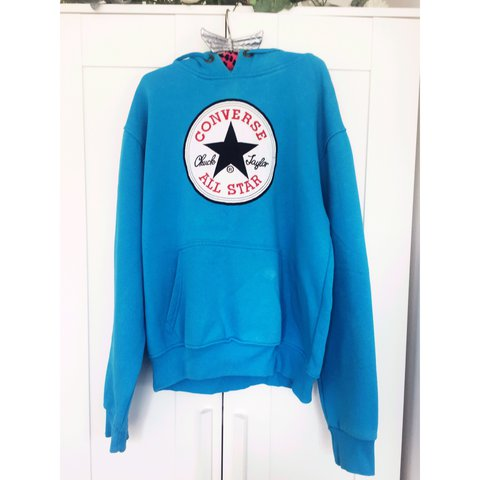 f9a72af67004 💙Blue converse hoodie💙 Bought abroad so probably fake but - Depop
