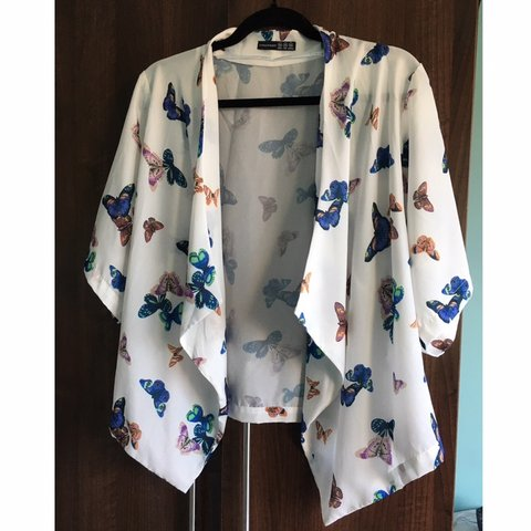 e830391f79 Beautiful white butterfly print kimono from Primark. Never a - Depop