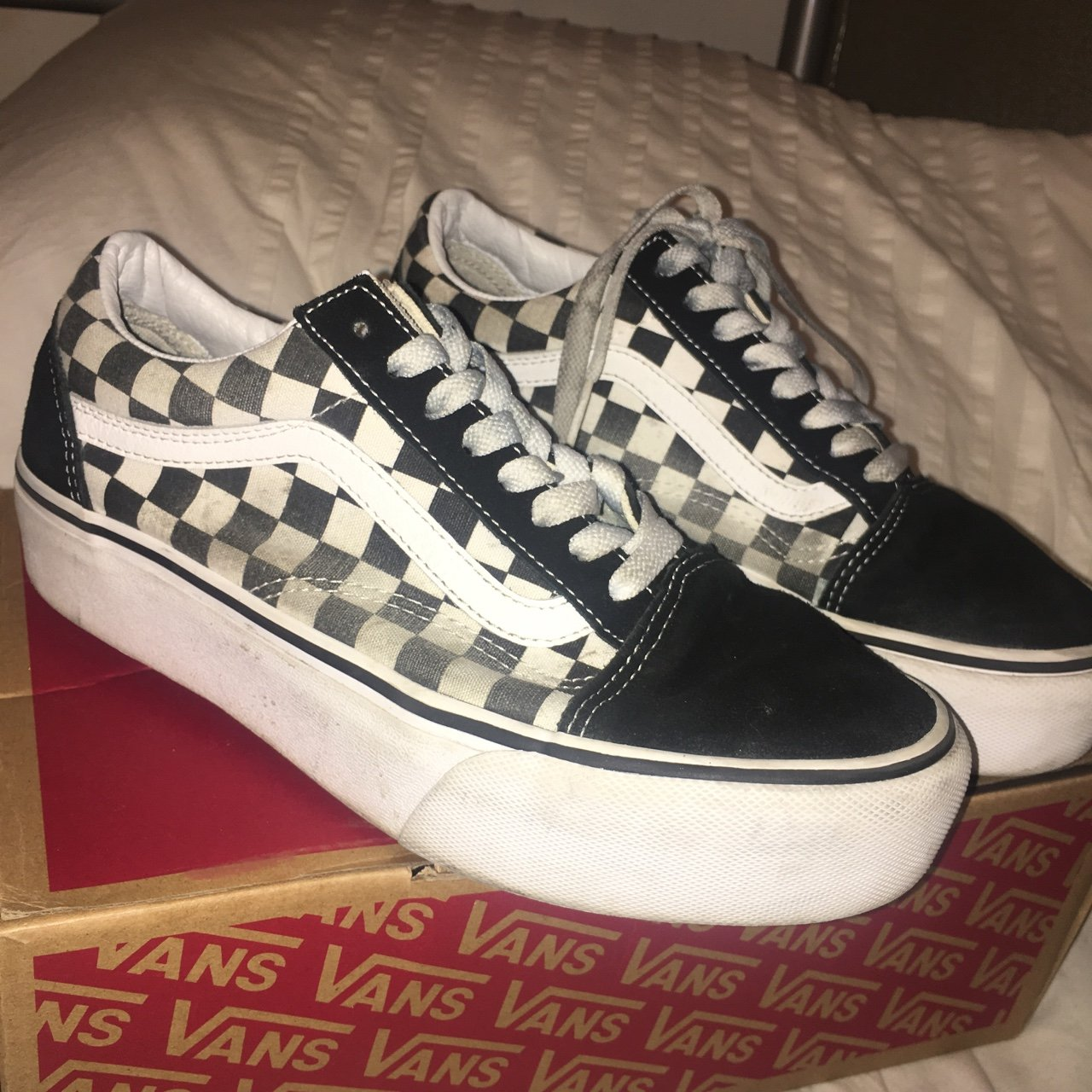 7ebb40b0814b68 Black and white checkerboard platform sole vans checkered uk - Depop