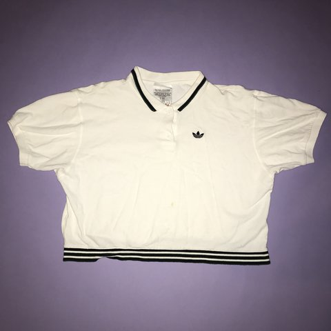 4b0fda1c RARE VINTAGE ADIDAS UNISEX CROPPED POLO 🕊 this is sooo and - Depop
