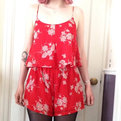 87cd025e085 12‼️Red floral strappy playsuit from new look. Lovely for a - Depop