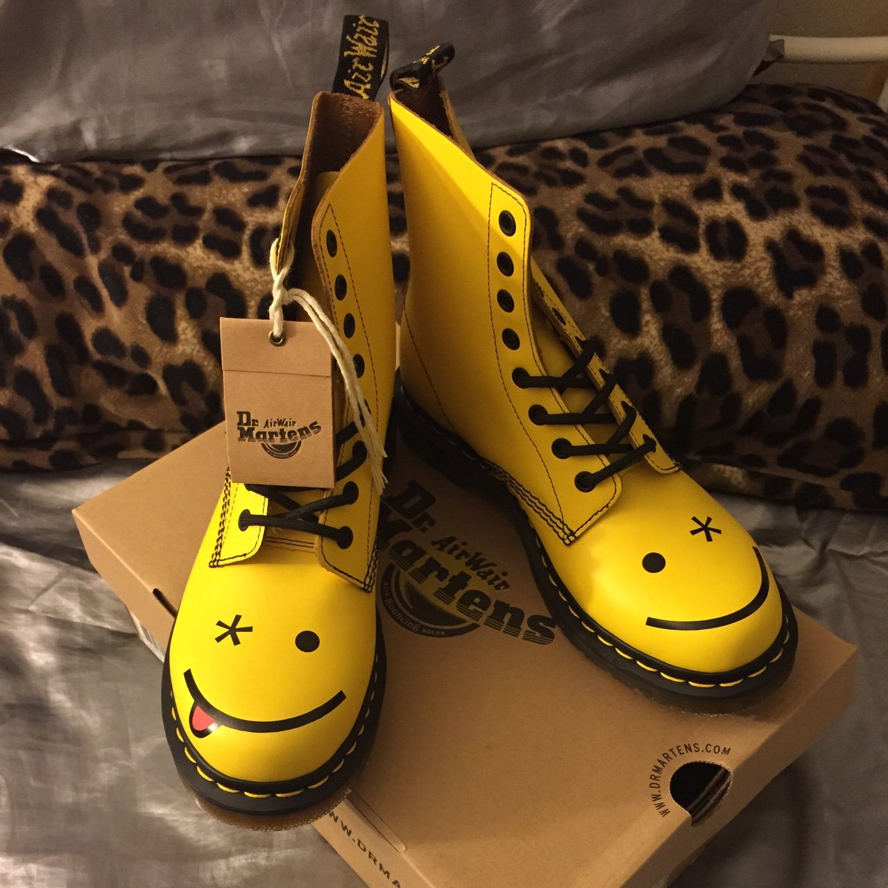 777694236 Dr. Martens yellow Hincky Acid Smiley boot. Brand new, with - Depop