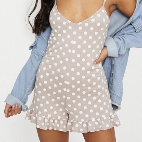 4faadb89489d Pretty Little Thing Stone Polka Dot Playsuit Size 8 Worn on - Depop