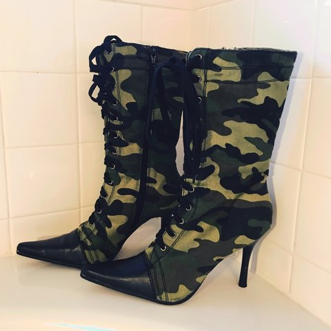 dd12813b16ef Combat ready camouflaged spiked midi boots