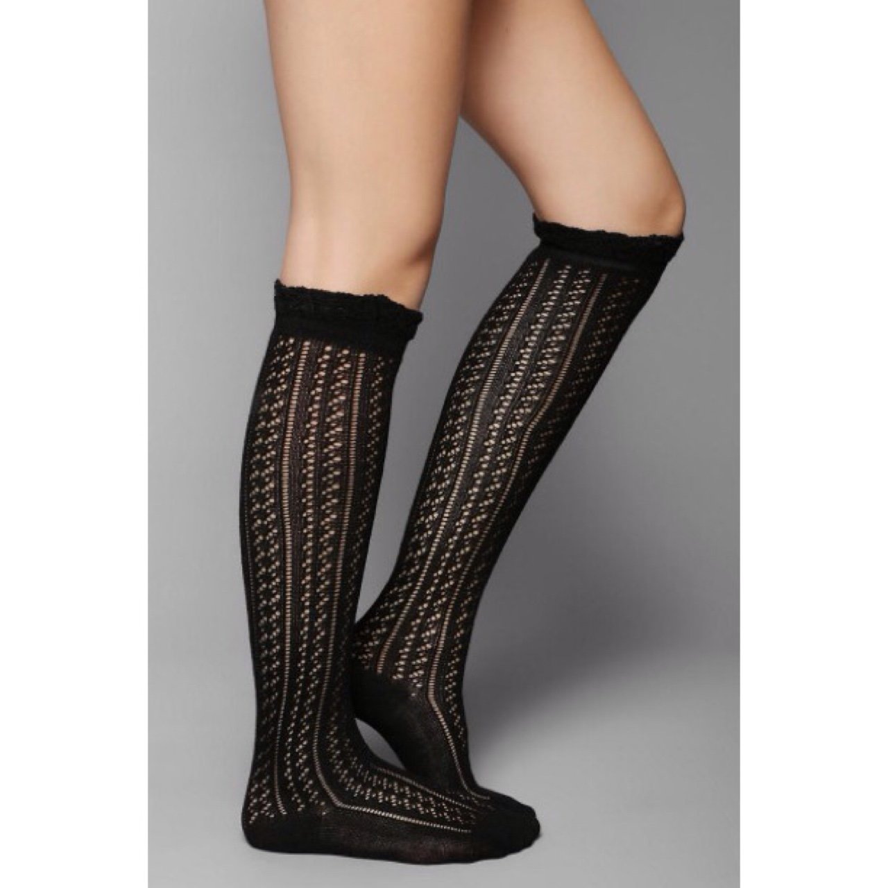 b0884ce5639 NWT Urban Outfitters Black Knit Knee High Socks with Ruffle - Depop