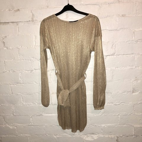 e8f546645fd8c @alextonimiles. 8 months ago. Tamworth, United Kingdom. Pretty Little Thing gold  plisse balloon sleeve sheer shift dress.