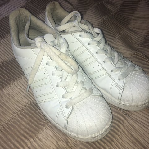 70e2bd7629f Adidas Superstars women s trainers all white. Size 5 1 2. in - Depop