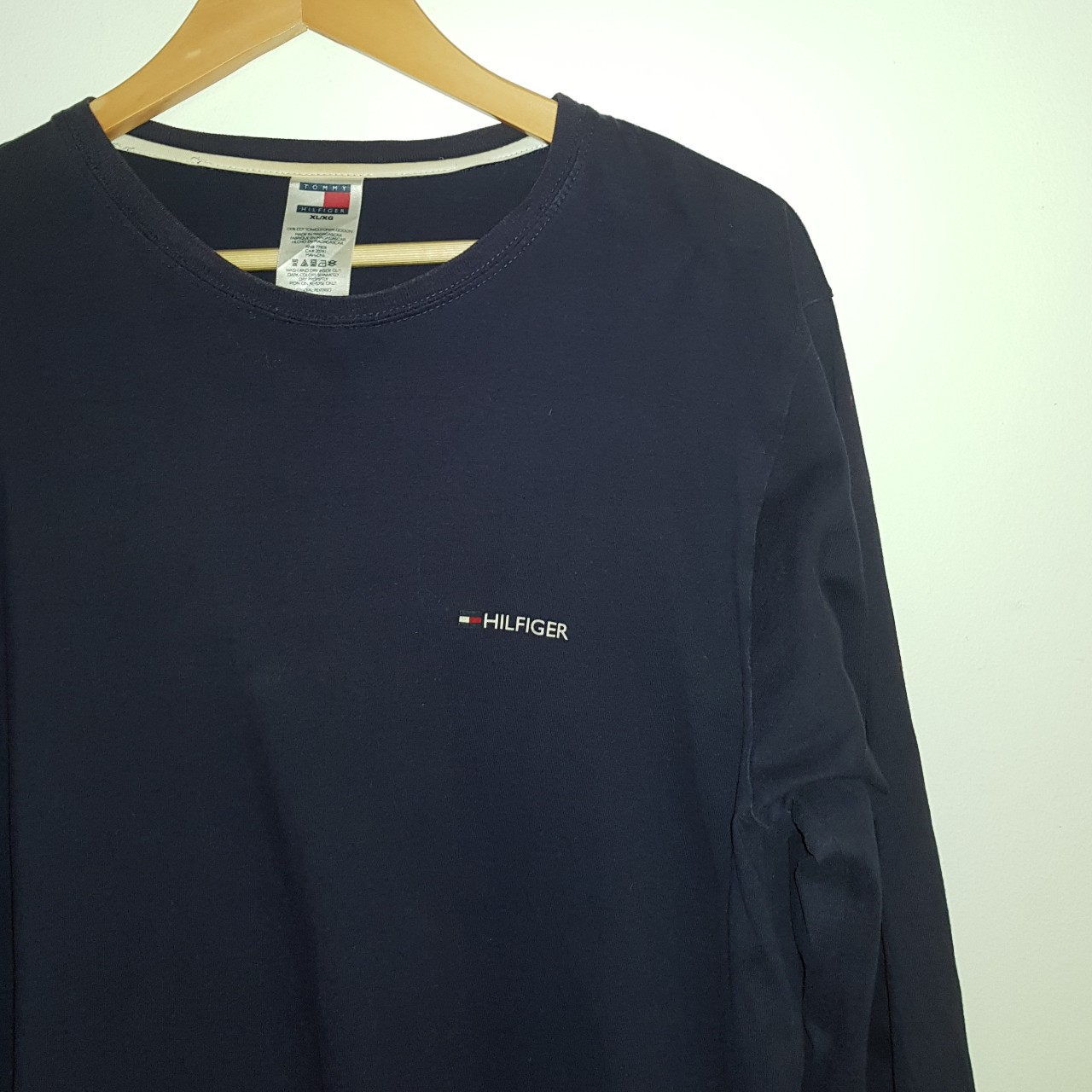 b2751e962 @archieth88. last year. London, Greater London, United Kingdom. Navy blue  long sleeve Tommy Hilfiger t shirt.