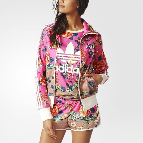 1ddc4bb1eee @lizzclemence. 7 months ago. Cardiff, Cardiff, United Kingdom. Adidas  originals pink floral print tracksuit jacket. Size 8 ...