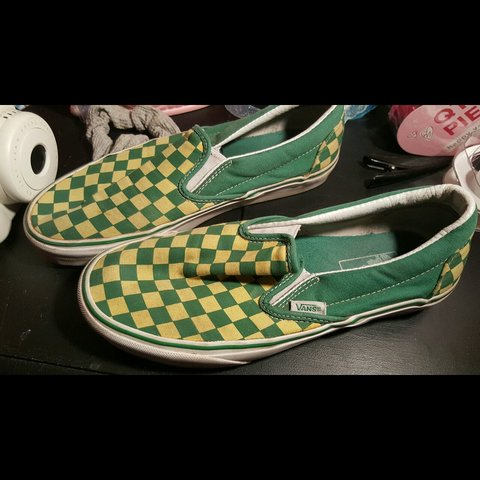 dc4eac90720 Rare green and yellow checkered  vans slip on classic. I ve - Depop