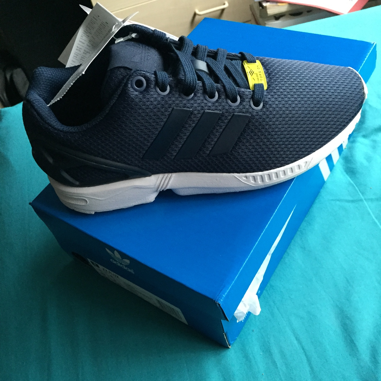 newest 65e50 80a15 Navy Blue and White Adidas ZX Flux size 5 #adidas... - Depop