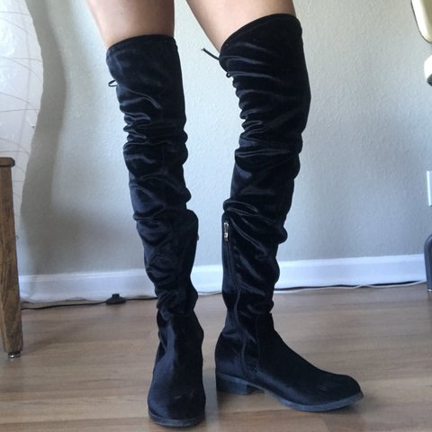 58404d8e0a0 Thigh high black velvet boots with zipper and lace tie. They - Depop