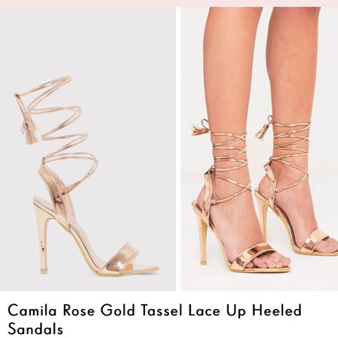 56d517e2f8f1 Pretty little thing rose gold lace up heels - Depop
