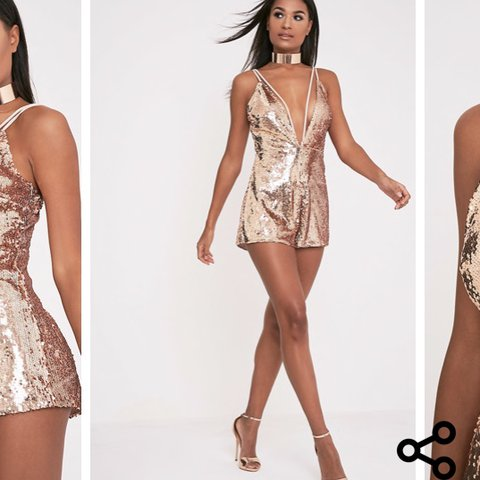 PLT pretty little thing playsuit gold rose gold sequin party - Depop