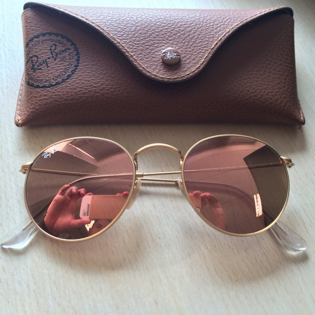 ray ban round pink mirror