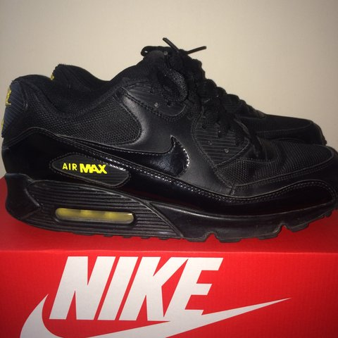 big sale 6b507 3f6bd  sizenine. 3 years ago. London, UK. Nike Air Max 90, Black Yellow ...