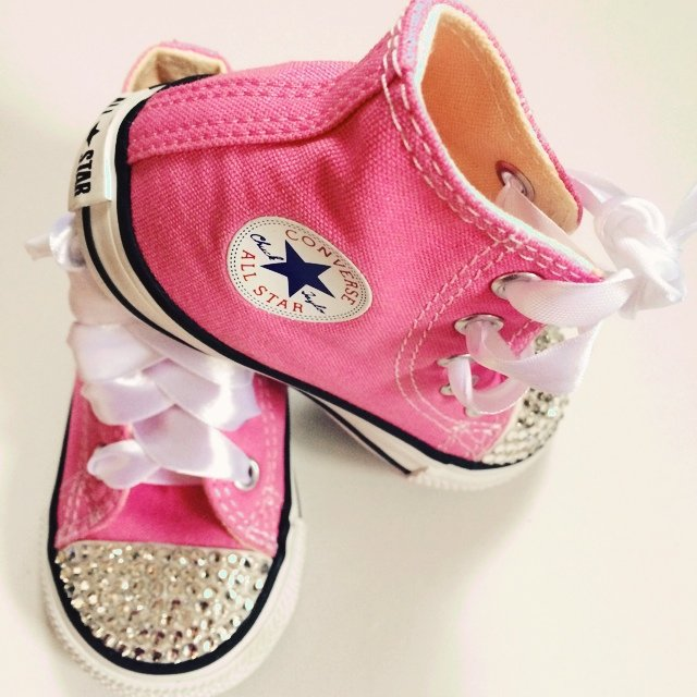 51645f66bca4 Kids Pink All star Converse customised with Clear Crystals 5 - Depop