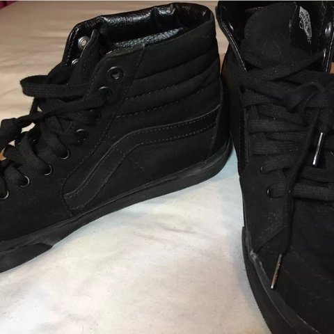 09f7cf4408 Vans Sk8 Hi all black size 8 worn once - Depop