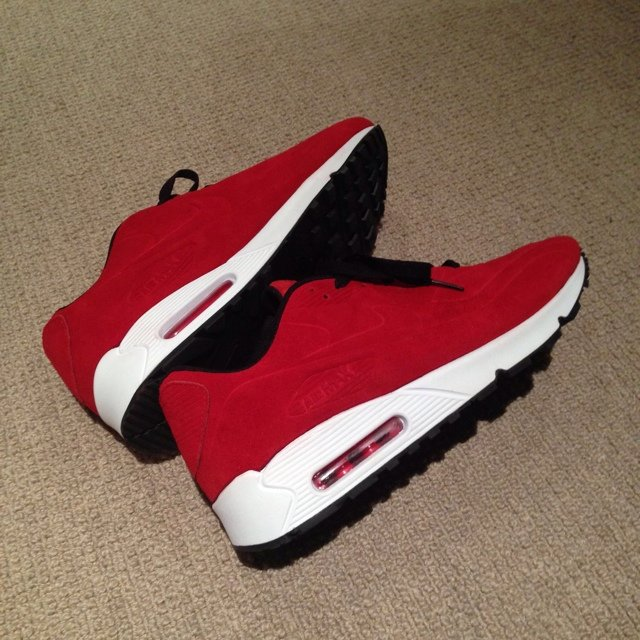 4e9eab23 @jackmaatee. 5 years ago. Weston-super-Mare, United Kingdom. Nike air max 90,  suede red, very rare pair off shoes